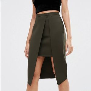 Pencil skirt in scuba with wrap overlay